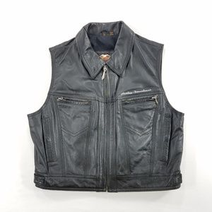 Harley Davidson Leather Vest Jacket Zip Up Coat